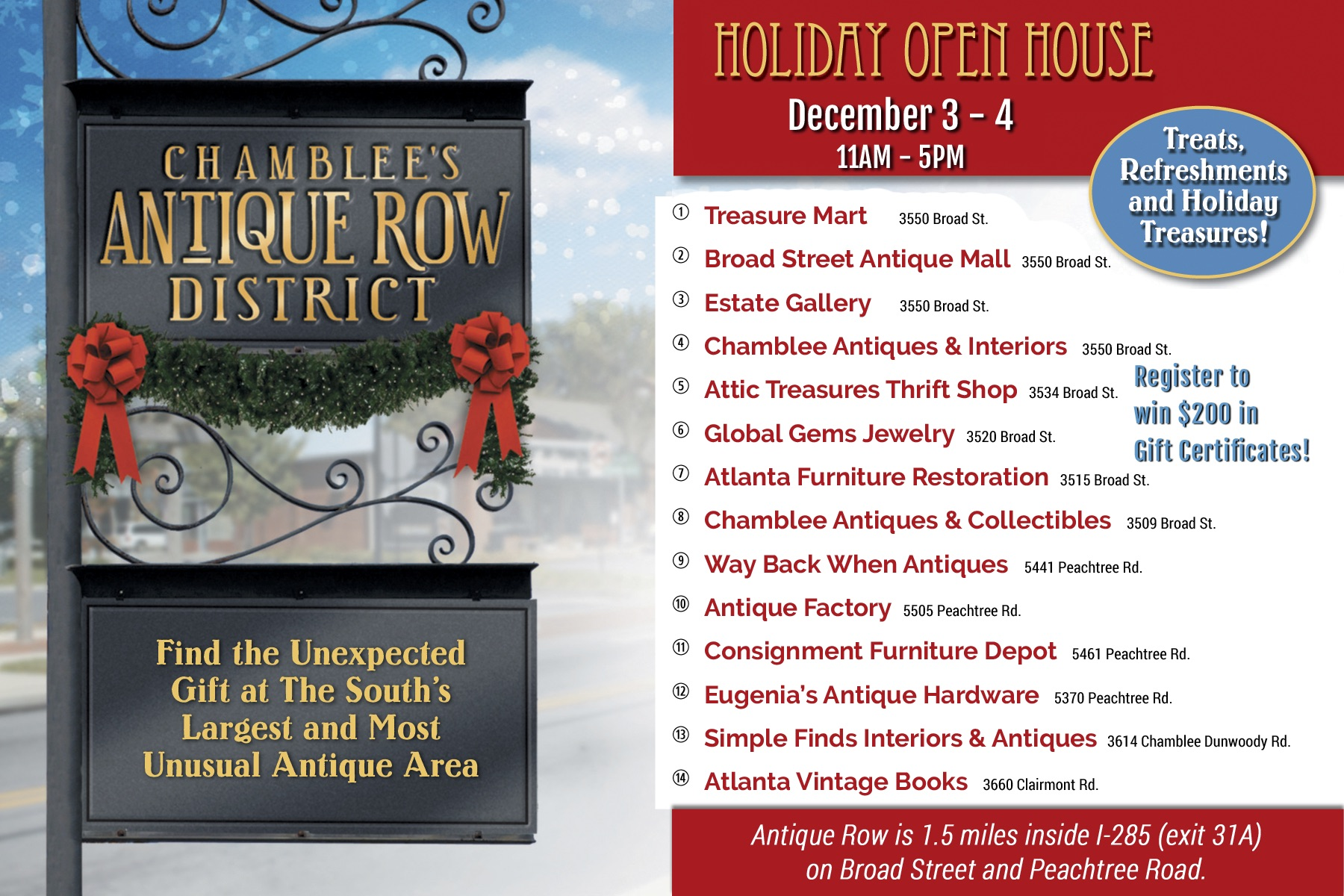 Holiday Open house - Dec. 3 - 4